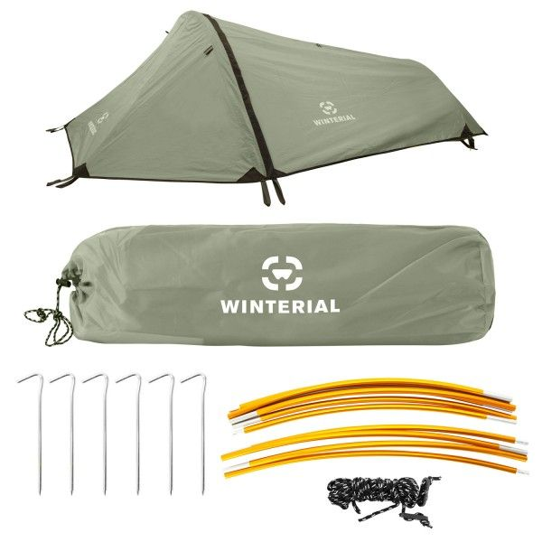 Cover: Winterial single person, three season, lightweight tent, green. (2lbs. 9oz.)