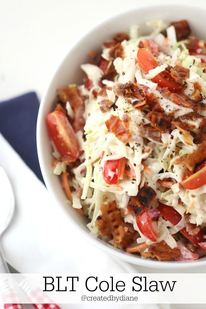 BLT Cole Slaw Recipe - This cole slaw has the fantastic flavor of a BLT, and it is not to be reckoned with! This will be a HIT at your next BBQ, cook out, picnic or middle of the week hamburger night!