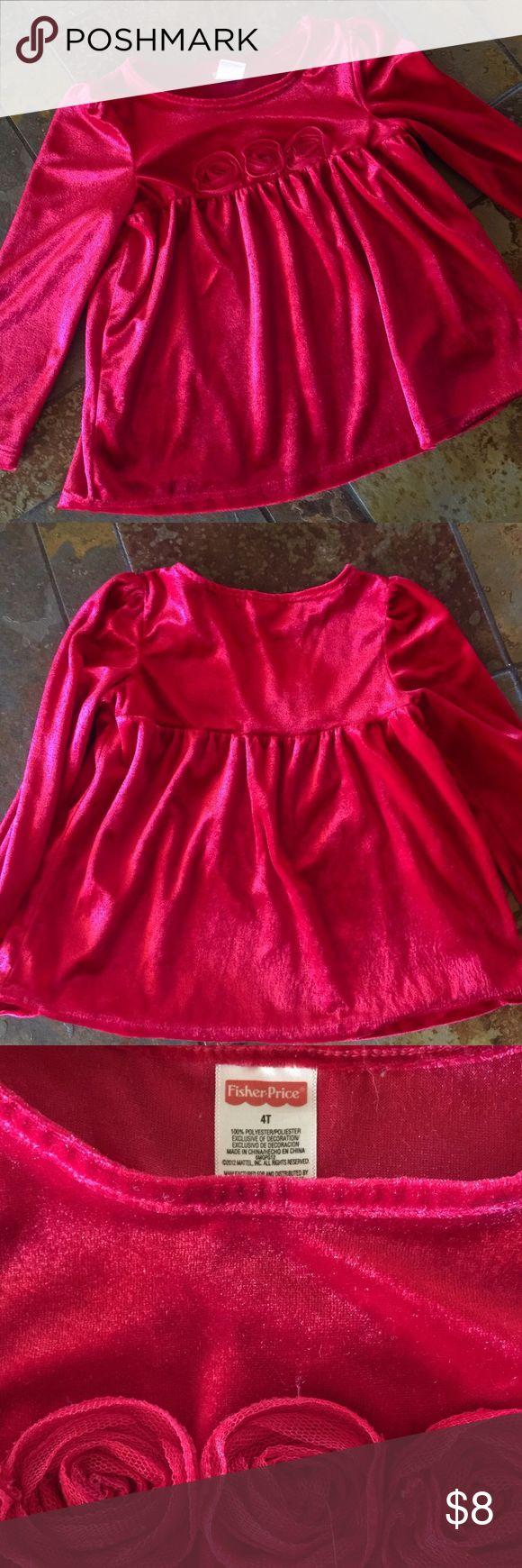 Red Velvet plush girls long sleeve top Girls blouse in soft velvet feel red. Long sleeve top. Fisher Price Shirts & Tops Blouses