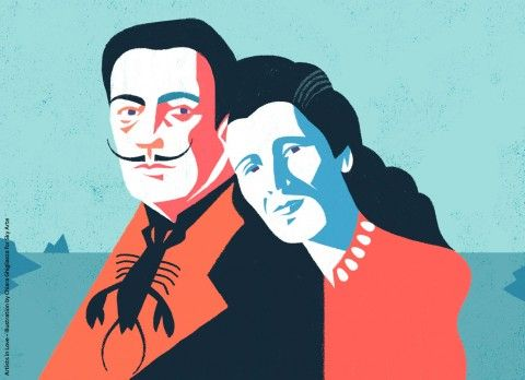 Artists in Love - Gala e Salvador Galì. Illustrazione di Chiara Ghigliazza per Sky Arte HD
