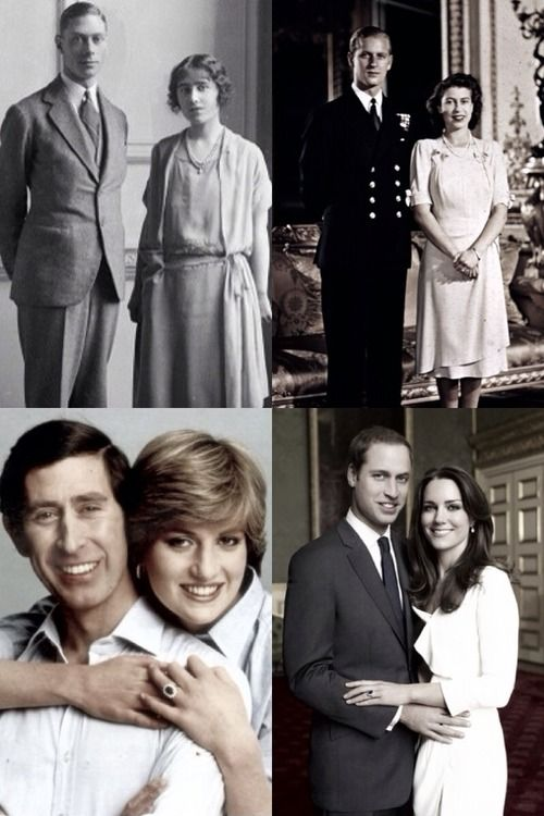 British Royal Family Engagements-Duke of York and Lady Elizabeth Bowes-Lyon, 1923; Lt. Philip Mountbatten and Princess Elizabeth, 1947; Prince of Wales and Lady Diana Spencer, 1981; Prince William and Catherine Middleton, 2010.