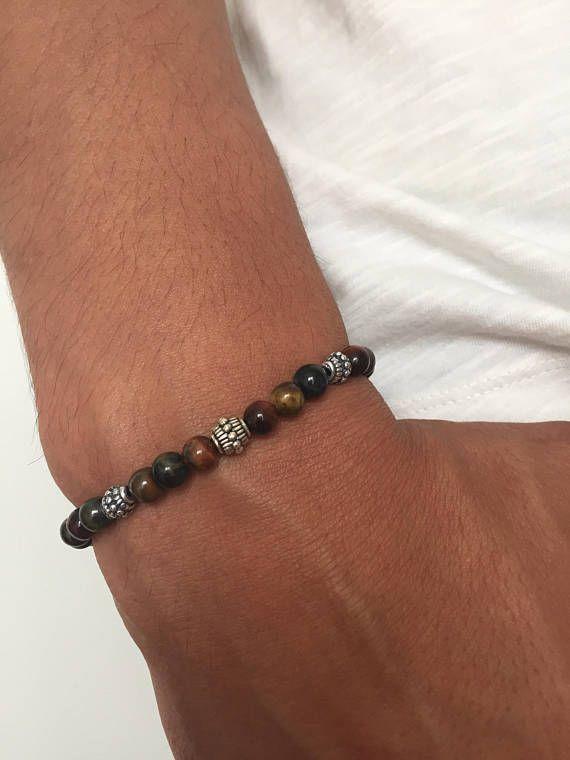 Bracelet Homme pierre semi précieuse oeil de tigre de faucon