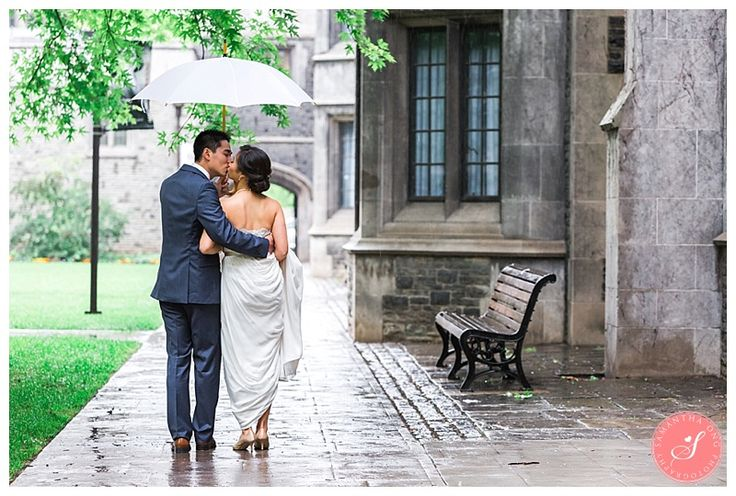 An adorable first look through the rain! | Majestic University of Toronto Hart House Wedding Photos: Anna  & Remon  | © 2015 Samantha Ong Photography www.samanthaongphoto.com #samanthaongphoto #torontoweddings #harthouse #romantic #firstlook #brideandgroom #uoft