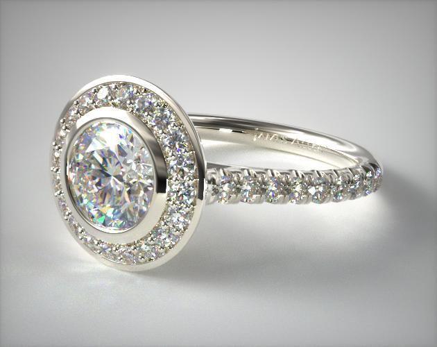 53072 engagement rings, halo, 14k white gold bezel set diamond halo engagement ring item - Mobile