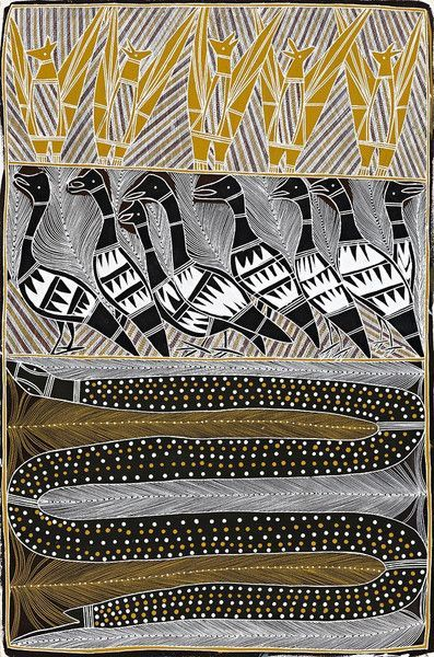 Charlie Djurritjini ~ Mawangi Totems, The Flying Fox, The Magpie Goose and The Black-Headed Python