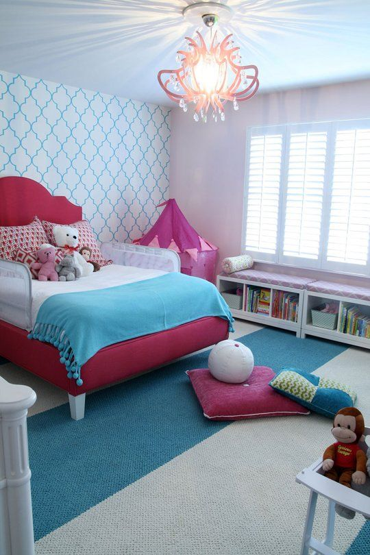 Blue & Pink Palace kid's room by @Suzanne Rosenberry Rooms. Checkout our Cool Kids Bedding at http://www.visionbedding.com/Kids_Bedding.php