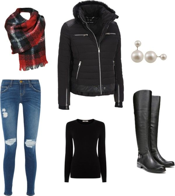 winter jacket, distressed jeans outfit