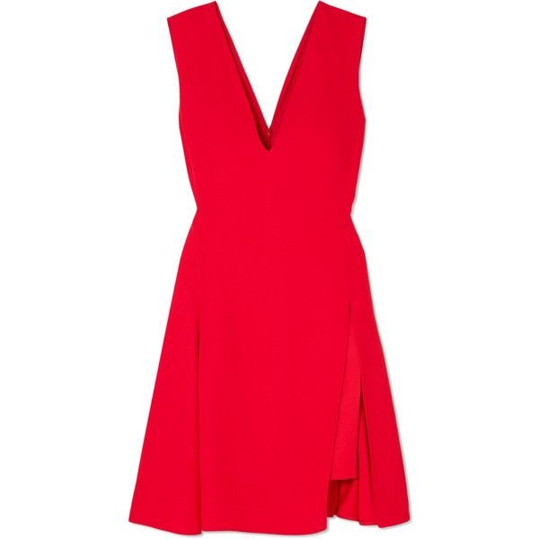 Versace Pleated cady and satin mini dress (€1.630) ❤ liked on Polyvore featuring dresses, v neck mini dress, v neckline dress, red mini dress, v-neck dresses and pleated dress