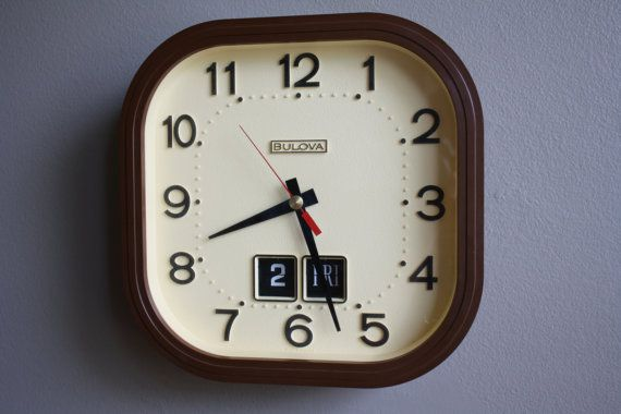 Mid Century Bulova Wall Clock with Day and Date by RayRaysRetro, $65.00