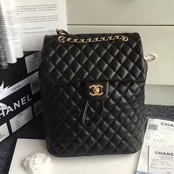 4db2a7276eb7 Chanel Urban Spirit Quilted Lambskin Large Backpack Black Gold Hardware  170301