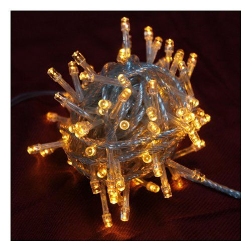 10M Yellow String Light for Christmas Party Holiday Home Garden Decoration by BrainyTrade. $6.99. 1. The string can be used as one, and be connected (as much as ten light strings to form 100m string light). 2. Certificated by FCC/ROHS/EMC/LVD.  3. Total 100 led light string.  4. There are 7 different colors to choose from: white, warm white or gold, blue, green, red, yellow and mix-color.  Notes:  You can distinguish the color by color point on the light control. ...
