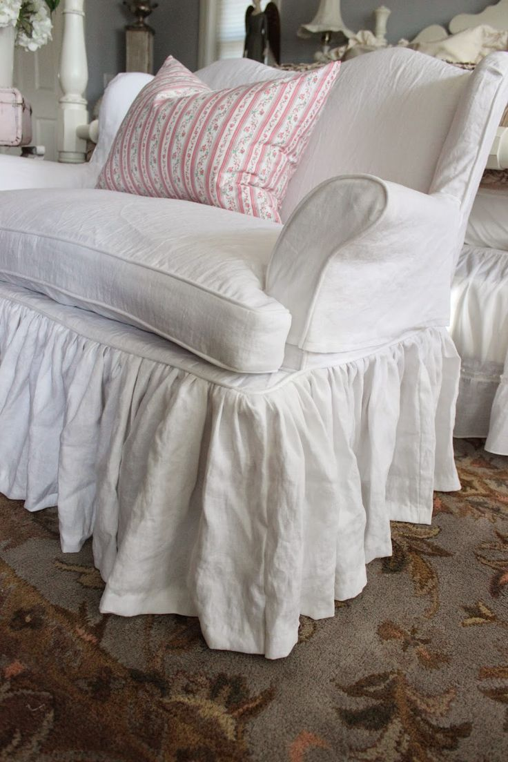 Custom Slipcovers by Shelley: White Linen Chair and Settee