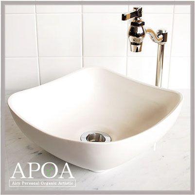 【楽天市場】丸みを帯びたスクエア型のシンプルデザイン手洗い器♪[ 洗面ボウル /手洗い鉢/ 瀬戸焼 手洗器 / グラファイトシトラスインディゴエーデルワイス / 白 ]:APOA