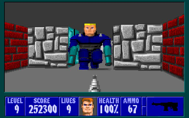Wolfenstein 3D  is a single player historical first-person-shooter video game for MS-DOS, created by id Software and published in 1992 by Apogee / Activision / GT Interactive.