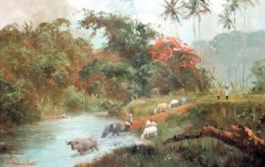 Painting by Sudjono Abdullah titled Memandikan Kerbau