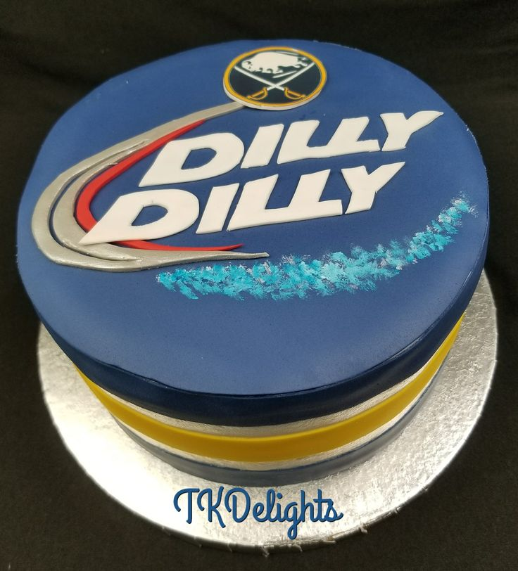 Dilly Dilly Buffalo Sabers cake Buttercream icing with fondant decorations