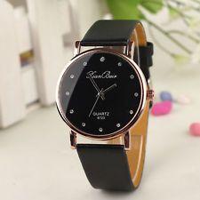 Fashion Women Crystal Watches Stainless Steel Quartz Leather Analog Wrist Watch