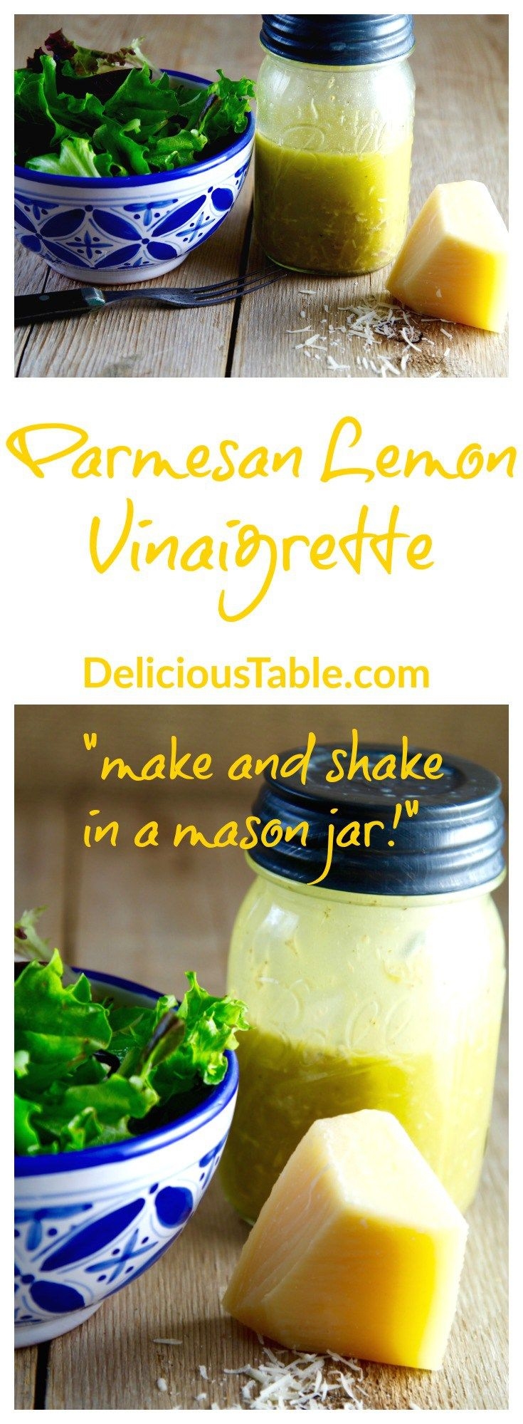 """Make & Shake"" (in a mason jar), fresh Parmesan Lemon Vinaigrette is a tasty homemade salad dressing recipe made in minutes with fresh ingredients!"