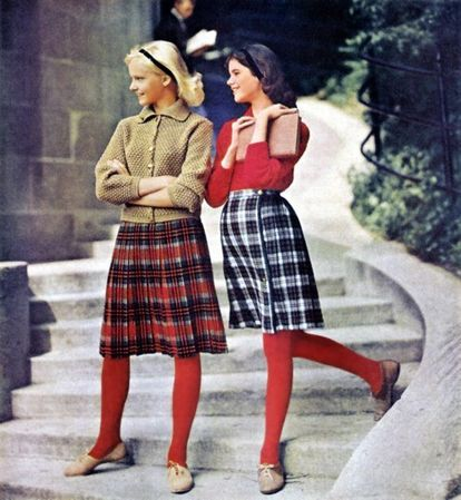 Red hose sets off the plaid skirts.