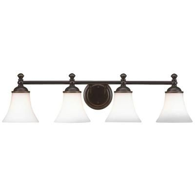 Upstairs bath vanity light centered over countertop:  Hampton Bay 4-Light Crawley Oil Rubbed Bronze Vanity