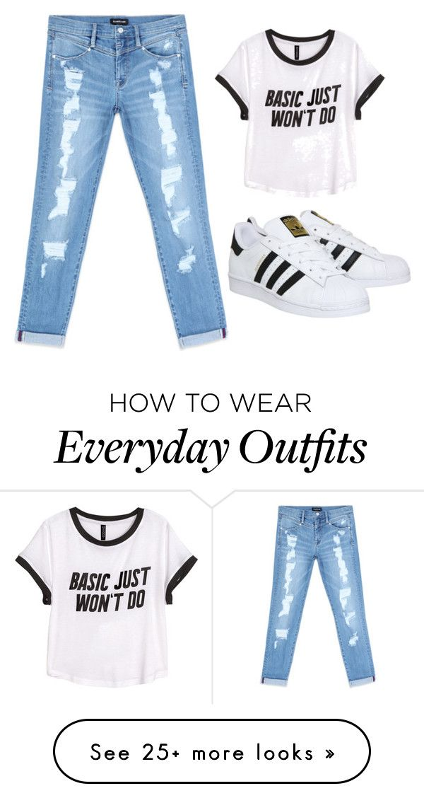 """""""Comfortable everyday outfit"""" by nhikamarf on Polyvore featuring Bebe, adidas and H&M"""