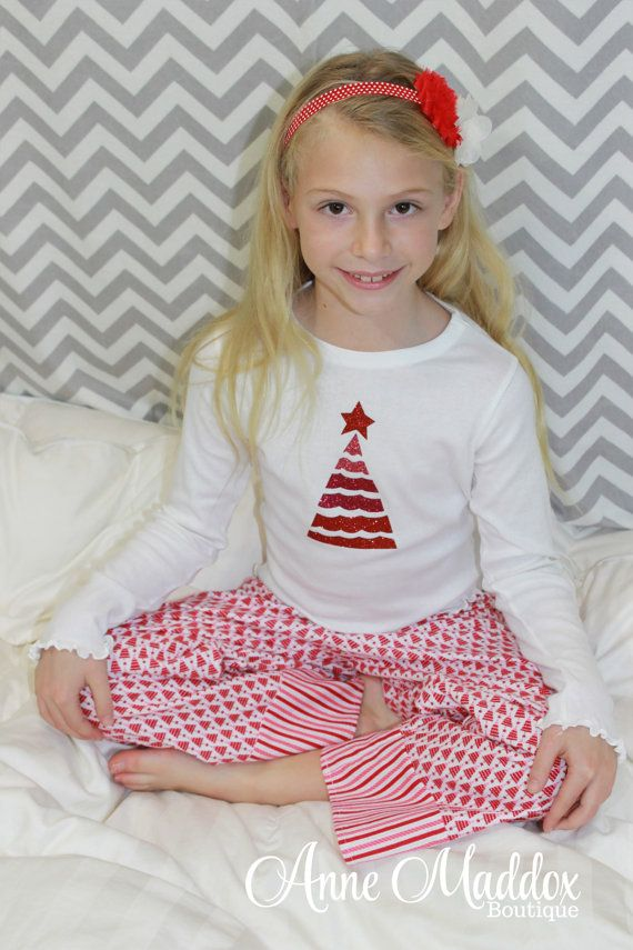 This year is a pink Christmas for your little princess! Adorable pink and red Christmas tree pajamas. Pajama pants are handmade from a premium