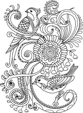 cool Anti-Coloring birds in the garden - 037