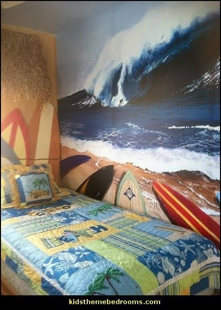 ■ Beach Surfing Wall Murals - Tropical Theme Bedroom Decorating Ideas -  Beach Theme | themerooms.blogspot.com > THIS PAGE HAS A LINK TO A SITE THAT HAS A PLETHORA OF DIFFERENT BEACH THEMES AND PRODUCTS!!