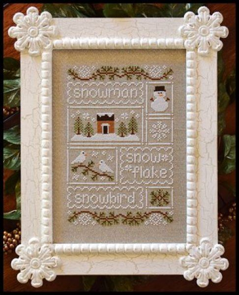 Snow Sampler is the title of this cross stitch pattern from Country Cottage Needleworks that is stitched with DMC threads and Gentle Art Sampler Threads (Baby Spinach). Click on highlighted link to add the 32 Ct fabric cut to your shopping cart and select the 1/8th yard option.