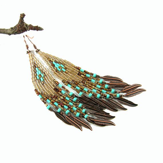 Native American beaded earrings inspired, boho earrings, native american beadwork inspired, Last Leaves in gold, brown and turquoise