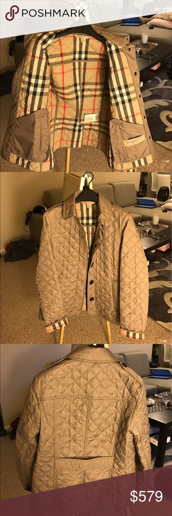 Burberry Brit Ashurst quilted jacket Only worn twice, like new with no stains or damage. Includes original tag unattached, plastic cover printed Burberry on it, and 2 extra buttons (a large one for the front, a smaller one for the buttons on the shoulders). 100% authentic. Sleeves can be rolled up to show the classic Burberry check pattern. Selling because lost weight and fits kinda loose on me now. Will accept $515 on Ⓜ️ercari and e🅱️ay or $460 on ♈️inted. Burberry Jackets & Coats