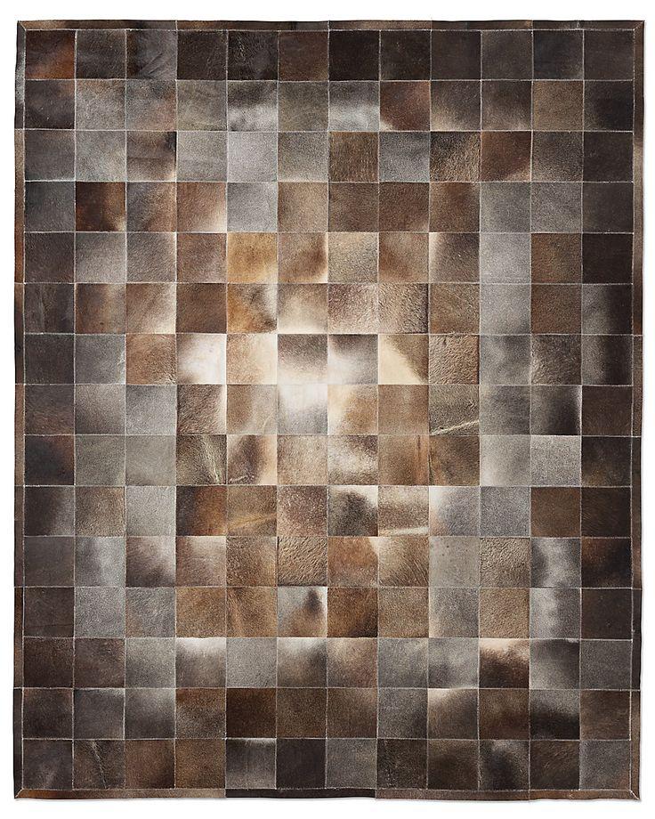 South American Cowhide Tile Rug Charcoal