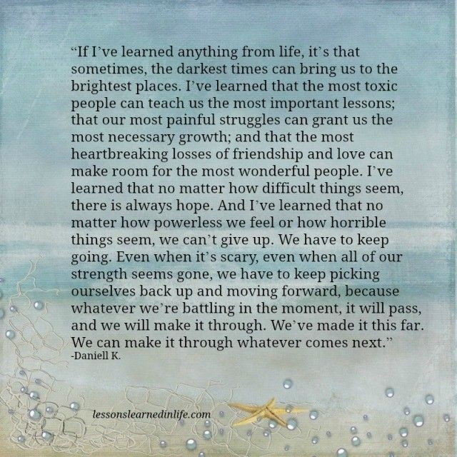 Lessons Learned in Life | We can make it.