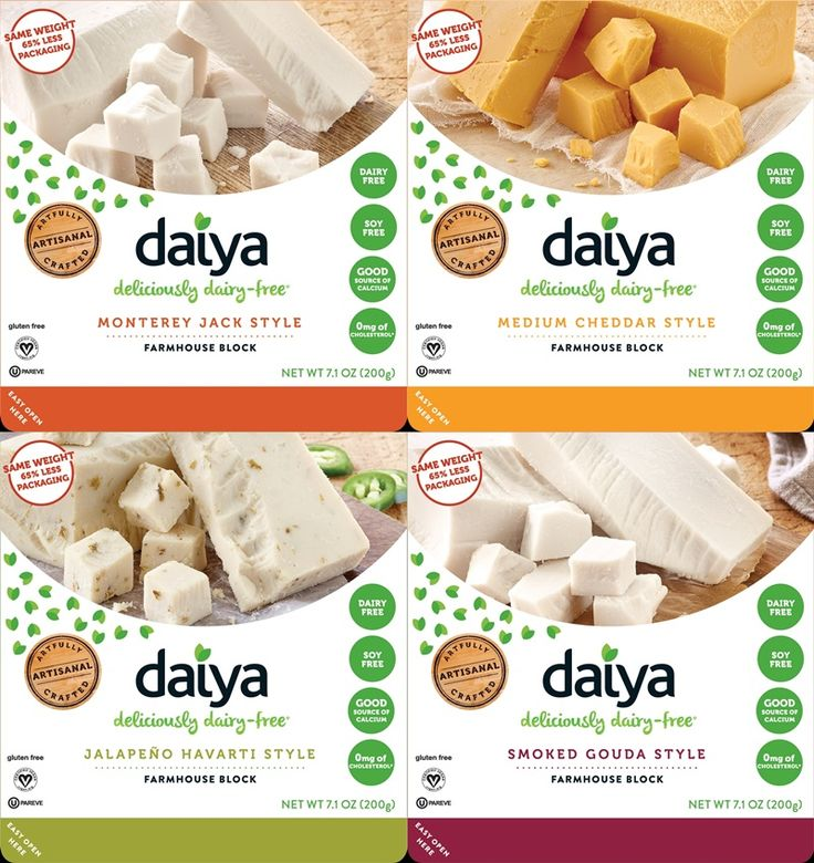 Daiya Farmhouse Blocks - dairy-free hard cheese subs in Jalapeno Havarti, Cheddar, Monterey Jack and Smoked Gouda (vegan, gluten-free, allergy-friendly)