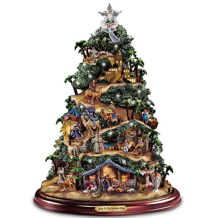 Thomas Kinkade Illuminated Nativity Tabletop Tree Glory
