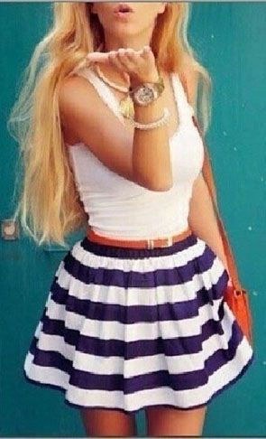 Cute summer outfit striped skirt is cute!