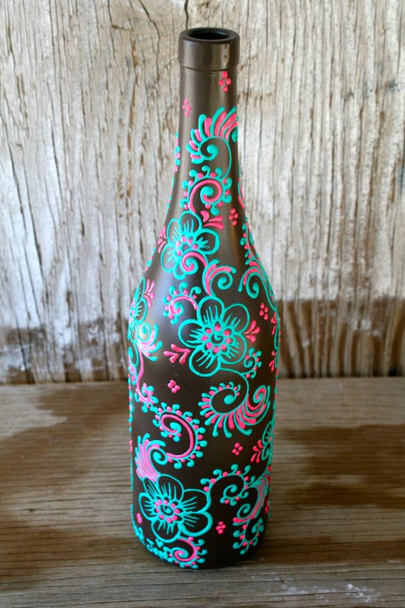 SUMMER SALE Hand Painted Wine bottle Vase Up Cycled by LucentJane