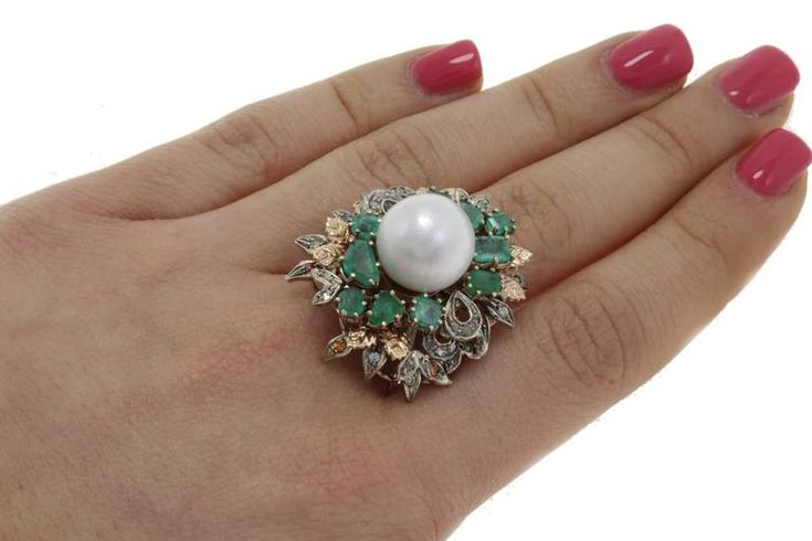 Luise Diamonds Emeralds Colored Stones Pearl Cluster Ring 4