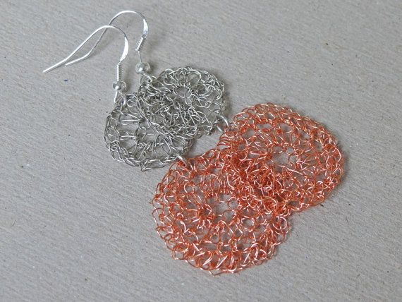 MOTHERS DAY GIFT Silver and copper circle crocheted by ByDrora, $25.00