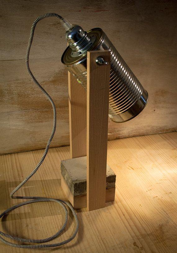 Hölzerne konkrete Schreibtischbeleuchtung, industrielle