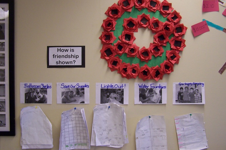 Not the greatest picture, sorry! The wreath is made out of origami. We did an art lesson on origami and then used our poppies to create a wreath for Rememberance Day. Origami is great for teaching shapes as well! The pattern is originally a gift bow but I adapted the paper colour and got the kids to colour the middle black.