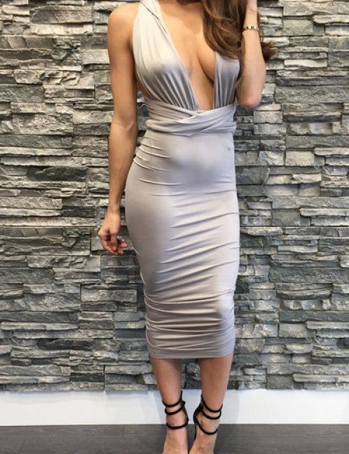 Women's Pencil Party Changeable Strap Bodycon Dress