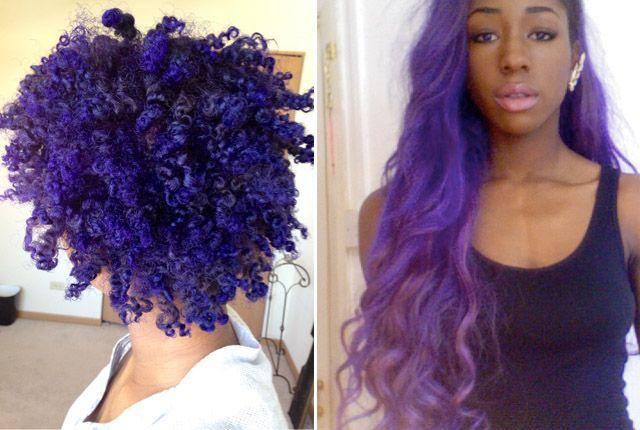 Purple Hair On African American Dark Skin Black Girls With