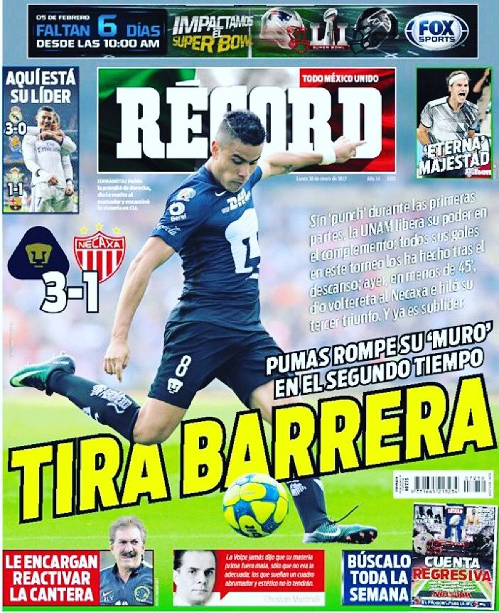 ¡Tira barrera! @PumasMX rompe su 'muro' en el segundo tiempo y ya es sublíder del C2017 #hoyentuRÉCORD #Portada 30 de enero 2016