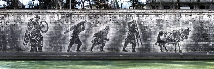 Splendidi murales dell'artista sudafricano William Kentridge sulle sponde del Tevere
