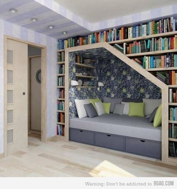 Cool idea: Libraries, Bookshelves, Idea, Stairs, Book Nooks, Reading Nooks, Book Shelves, Booknook, Readnook