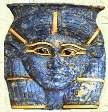 Hathor lapis lazuli and gold pendant.  •Egyptian Museum in Cairo•