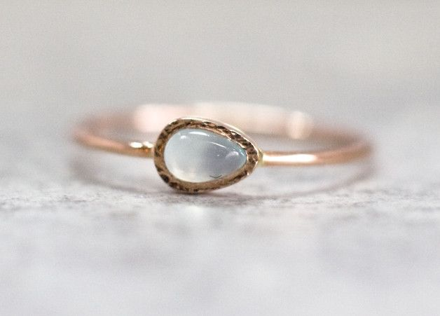 Great gift for mum. Gold Rings – Blue chalcedony ring in 14k rose gold – a unique product by arpelc via en.DaWanda.com