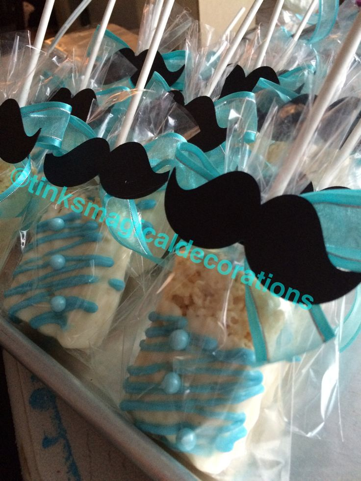 Mustache rice krispies treats covered with chocolate