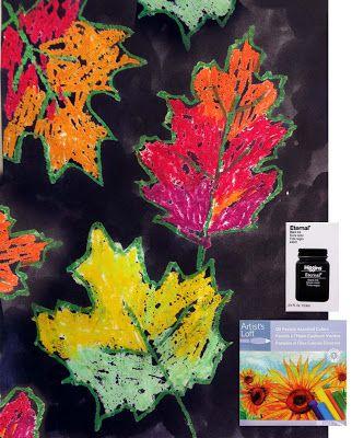 Leaves: eerst met wasco de bladeren maken en daarna met ecoline.